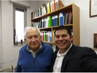 Dr. Raphael Mechoulam (right) and Seth Wong (left) in the Dr.'s Hebrew university office.