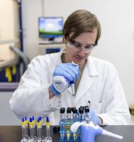 Laboratory Technician Bevan Meade working on sample preparation.